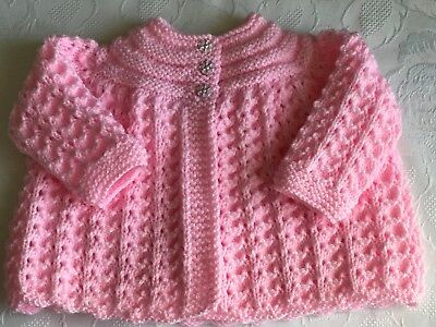 Hand knitted Baby Girls Pink  Matinee cardigan fits 0-3 mths 'NEW'