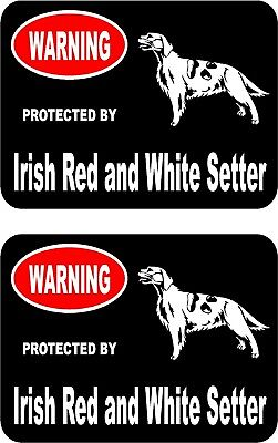 2 protected by Irish Red and White Setter dog car home window vinyl stickers #B