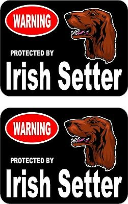 2 protected by Irish Setter dog car home window vinyl decals stickers #C