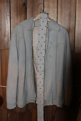 Vintage Womens Buckskin Leather Jacket 1940's Handmade Buttons Lined