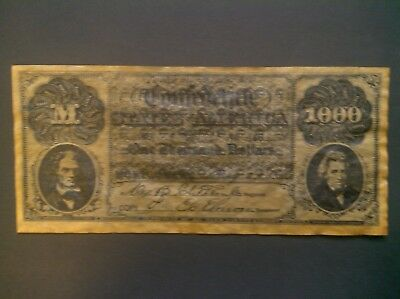 Confederate States 1861 Currency $1000.00 Reproduction. ***FREE SHIPPING***