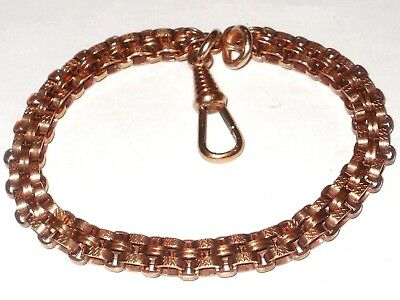 Beautiful Victorian 18Ct Rose Rolled Gold Fancy Bracelet With Dog Clip Clasp
