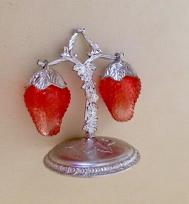 Vintage Hanging Strawberry Salt and Pepper Shakers - Silver Tree Stand - 1960's