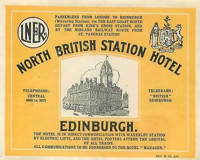 Lner London North Eastern Railway Royal Station Hotel Edinburgh Luggage Label