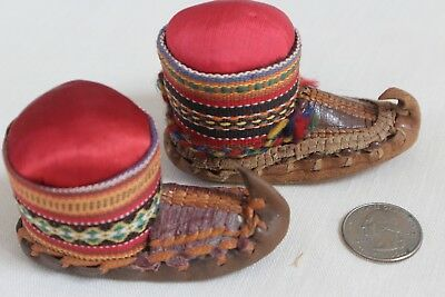 Two Antique Vintage Leather Moccasin Boot Pin Cushions Serbia Serbian