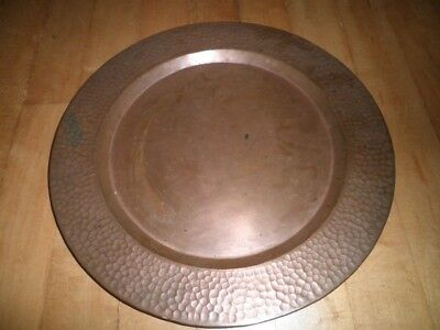 """Vintage Hammered Copper Tray Or Charger 12"""" Diameter Great Patina"""