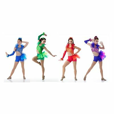 S5-191   GLAMOUR GIRLS in Blue, Green, Purple, Red JAZZ DANCE COSTUME