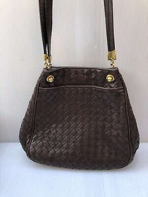 e161195515945 $2400-BOTTEGA VENETA Brown Leather Shoulder Bag Purse Nero Intrecciato Vtg  RARE