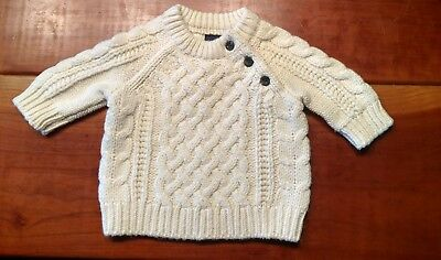 BABY GAP IVORY CABLE KNIT PULLOVER SWEATER SIZE 0-3 Months