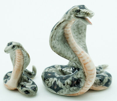 Figurine Animal Ceramic Statue 2 Cobra Snake - CAS024