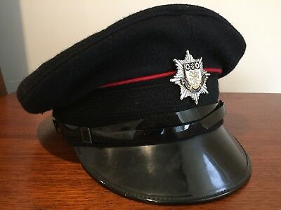 Vintage Wool Cleveland County Fire Brigade Cap Hat Size 58 Made in England
