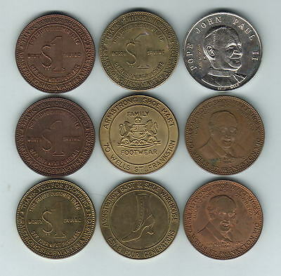 Australia. Collection of Armstrong Tokens. 9 pces - all diff Metals or Designs