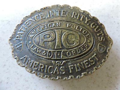 """Pig American Police Law & Order Belt Buckle Solid Brass 610 Taiwan   3 1/2"""""""