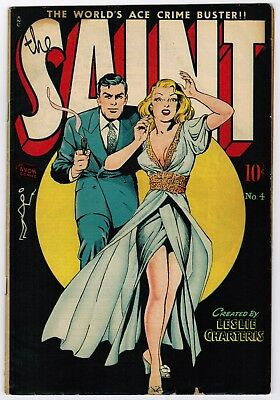 The Saint #4 (1948 Avon) Fn-/fn Classic Matt Baker Gga Cover Scarce