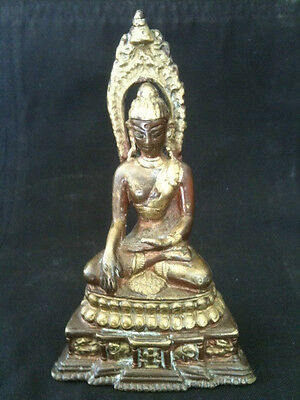 VINTAGE 13cm CAST BRONZE BUDDHA SEATED ON DOUBLE LOTUS WITH ANIMALS PLINTH