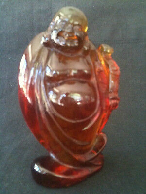 VINTAGE AMBER COLOURED RESIN 12cm TALL STANDING HAPPY BUDDHA w/ RUYI SCEPTER