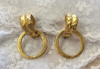 Fab!!! KENNETH JAY LANE Vintage Signed Satin Hammered Goldtone Clip On Earrings