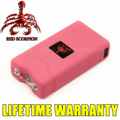 Red Scorpion Pink Mini Stun Gun 800 for Lady - 6BV + Rechargeable LED Flashlight
