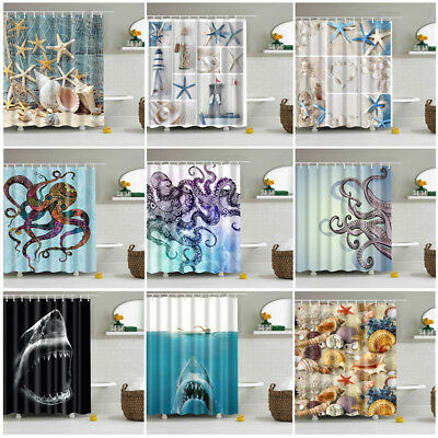 Shower Curtain With Hooks Beautiful Sea Octopus Whale Fabric Waterproof Bathroom
