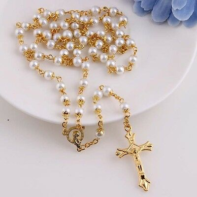 White Black Glass Pearl Beads Catholic Rosary Italy Cross Crucifix Necklace New