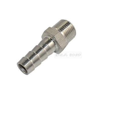 "NPT 1/4"" Male Thread Pipe Fitting x 8mm Barb Hose Tail Connector Stainless Steel"