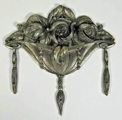 Antique Bronze Ornament: Art Deco Nickel Plated French Furniture Pediment c1930