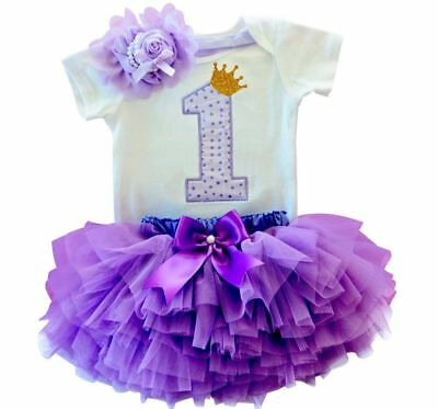 Girls First 1st Birthday Outfit Tutu Dress Cake Smash Bow Headband Princess One