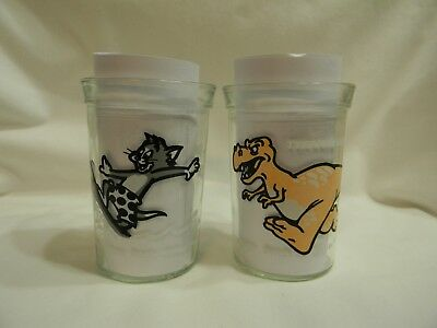 Welch's Jelly Jar Glasses Tyrannosaurus Rex and Tom and Jerry Good Condition