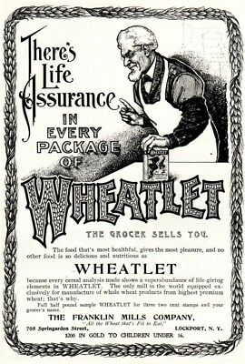 1902 ad vintage Life Assurance Package of Wheatlet Royal Muskoka Hotel Canada
