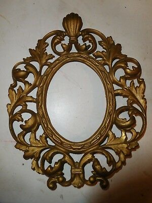 Antique Gilded Cast Iron Oval Picture Frame Ornate Victorian Nice