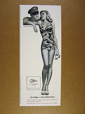 1947 Cole of California Swimsuits pin-up girl art illustration vintage print Ad