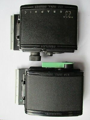 Lot of 2 Graflex 120 Roll Film Film Holders:  23 Graphic and RH 12