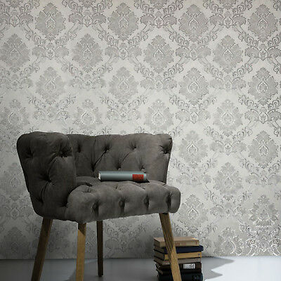 baroque wallpaper textured modern damask white gray silver gold metallic roll 3D
