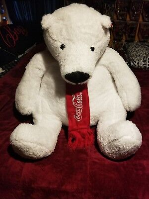 2016 collectible coca cola teddy bear large white with coca cola scarf 30 inch