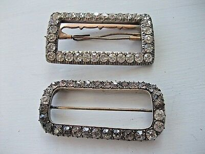 VICTORIAN PASTE AND SILVER BUCKLES - Two
