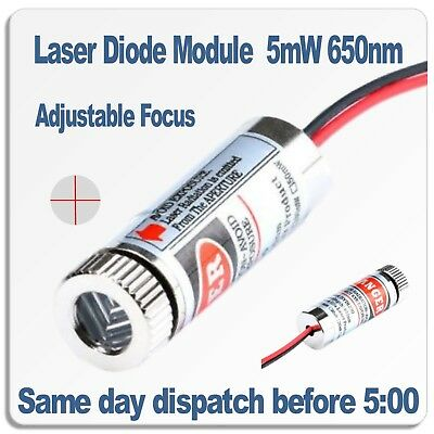 Adjustable Focus Laser Module. Red Focusable Cross Hair laser 5mW 650nm 5V