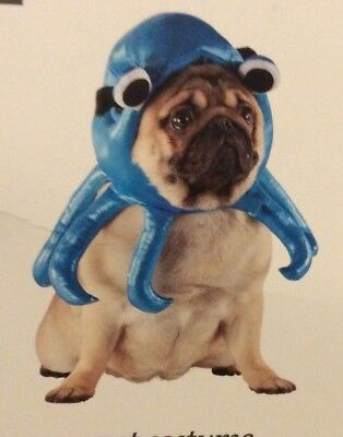 Octopus Blue Pet Costume Dog Outfit S/M Small/Medium Halloween Hat