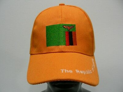 The Republic Of Zambia - Orange - Lightweight Adjustable Ball Cap Hat!