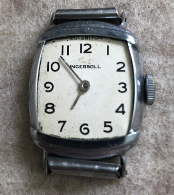 Vintage Ingersoll Men's Watch Parts/Repair Runs Art Deco USA 20-2817ON