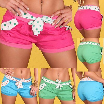 f6f0affc6dc1 SeXy MiSS Damen Trendy Hot Pants Stoff Girly Shorty Dots Shorts kurze Hose  XS S