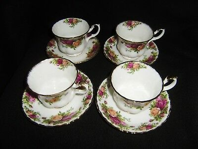 4 ROYAL ALBERT Old Country Roses 3 1/2 Inch Cups and 5 1/2 Inch Saucers