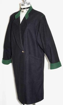 LODENFREY ~ BLACK Boiled WOOL Over Coat Austria Women WINTER Walk Car Warm XL
