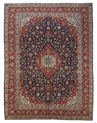 Vintage Persian Classic Floral Design Rug, 11'x15', Blue/Red, All wool pile
