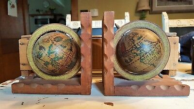 Vintage pair old world map globe bookends spinning rotating wood vintage pair old world map globe bookends spinning rotating wood base hong kong gumiabroncs Image collections