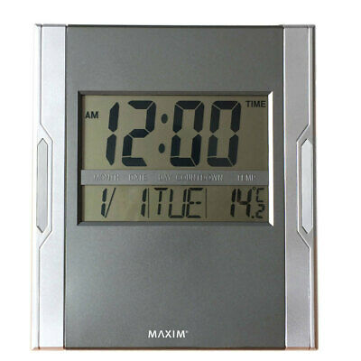 Maxim Digital Wall Clock LED Calendar/Temperature/Alarm/Snooze Home Office Decor