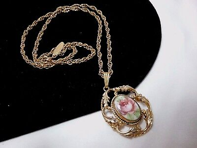 Vintage Gold Whiting & Davis Rose Flower Cameo Filigree Gold Chain Necklace