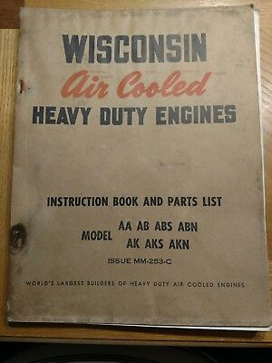 Wisconsin Air Cooled Heavy Duty Engines Instruction Book And Parts List