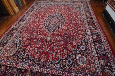 Vintage Persian Classic Floral Design Rug, 10'x13', Wine/Blue, All wool pile
