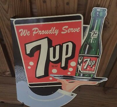 7Up SODA  FLANGE DOUBLE SIDED 2002 LIMITED PRODUCTION  BAKED ENAMEL SIGN rare