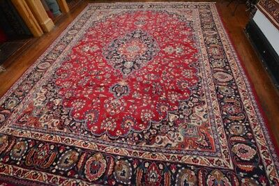 Vintage Persian Classic Floral Design Rug, 10'x12', Red/Blue, All wool pile